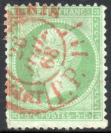YT 20 OBLITERE CAD ROUGE DES IMPRIMES 1868 COTE 30 € - 1862 Napoleone III