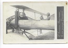 AVIATION Rare Carte Photo  L'aviateur SOURISSEAU Et Son Passager GROUSSARD Avion     .G - Aviadores