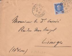N°552 SEUL SUR LETTRE DE LUBERSAC CORREZE 1942 - 1921-1960: Modern Tijdperk