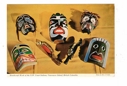 ALERT BAY, Vancouver Island, British Columbia, Canada, Masks Of The N. W. Indians, Older 4X6  Postcard - Other