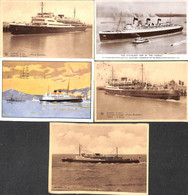 Paquebot - Lot 5 Cartes (Ostende Douvres Joséphine Charlotte Prince Baudouin Queen Mary) - Piroscafi