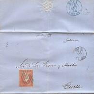 Año 1856 Edifil 48 Isabel II Carta Matasellos Rejilla Azul Gijon Oviedo Felipe Romero - Covers & Documents