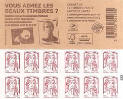 FRANCE - BOOKLET / CARNET, Yvert 851 C9- 2014 - Marianne De Ciappa, 12x TVP Red - Uso Corrente