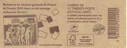 FRANCE - BOOKLET / CARNET, Yvert 851 C18- 2015 - Marianne De Ciappa, 12x TVP Red - Uso Corrente