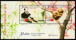Uruguay - 30 Years Diplomatic Relations China-Uruguay,  Souvenir Sheet, MINT, 2018 - Bären