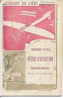Aviation Avion Rare Programme Officiel FETES D'AVIATION CHARLEVILLE MEZIERES Ardennes 1910 Pub Dont JEANTEUR .  G - Reuniones