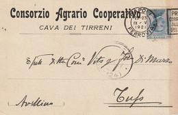 A35. Cava Dei Tirreni. 1921. Annullo Guller, Su Cartolina Postale PUBBLICITARIA .... CONSORZIO AGRARIO COOPERATIVO  ... - Marcophilie