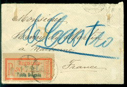Portugal (Azores) 1891 Registered Envelope (111 X 73 Mm) Via Lisbon And Bordeaux To Narbonne Mi 40 (2) Back Of Cover - Azores