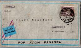 50c Mining 1932 Lima, Peru Airmail To Hamburg, Germany.  Stains And Crease.  Panagra Air Envelope. - Postal History