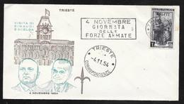 Italy Trieste 1954 Visit Of Einaudi Escelba Cover - AMG FTT Overprinted Stamp - Marcophilia