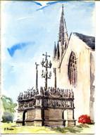 29470 PLOUGASTEL-DALOUAS - L'église Et Le Calvaire - Aquarelle De J. Suain - Plougastel-Daoulas