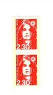 Briat 2fr30 Rouge YT 2614l En Paire Verticale Phospho à Cheval 50/50 . Voir Scan . Cote YT :  10 € Maury N° 2623a : 10 € - Abarten: 1980-89 Ungebraucht