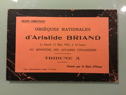 Carte Tribune A — Obsèques Nationales D' Aristide BRIAND Le Samedi 12 Mars 1932 - Historische Documenten
