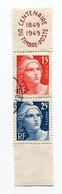 Bloc Oblitérés De 2 Timbres Marianne De Gandon Centenaire 1849-1949  A   VOIR   !!! - Used Stamps
