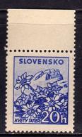 SLOVAKIA SLOVACCHIA SLOVENSKO 1940 1943FLORA FLOWERS EDELWEISS IN THE TATRA MOUNTAINS STELLE ALPINE FIORI FLEURS 20h MNH - Sin Clasificación