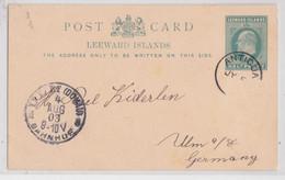 Antigua Leeward Islands Used Postal Stationery Post Card Ulm Bahnhof 1903 - Leeward  Islands