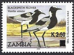 Zambia 2014 Blacksmith Lapwing Plover Anitibyx Armatus Overprint K2.50 On A Michel 1704 Mint. - Zambia (1965-...)