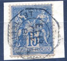 France N°90 TAD Levée Exceptionnelle 13.11.1888 Sur Fragment - (F1876) - 1876-1898 Sage (Type II)