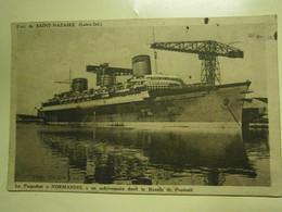 Carte Postale Ancienne,Saint Nazaire Transatlantique Normandie En Construction Bassin Penhoët,1937,écrite,thème Navire - Saint Nazaire