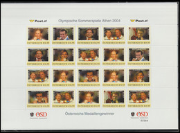 Austria 2004 Athens Olympic Games - Personalized Austrian Medal Winners A4 Sheet MNH/** (H59L) - Estate 2004: Atene