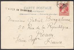 """Belgique 1908- Carte Postale Illustrée Avec Timbre Nr. 74 - Griffe""""Congrès De Chirurgie"""" Vers Rouen.....(DD) DC-9712 - 1905 Barba Grossa"""