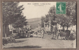 CPA 43 - LANDOS - La Rue Du Puy - ( Route Nationale ) - SUPERBE PLAN ANIMATION CENTRE VILLAGE Fileuses Dentellières - Andere Gemeenten