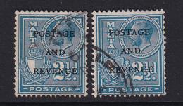 Malta: 1928   KGV 'Postage & Revenue' OVPT    SG181   2½d       Used (x2) - Malte (...-1964)