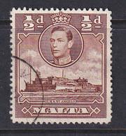Malta: 1938/43   KGVI     SG218a    ½d   Red-brown   Used - Malte (...-1964)