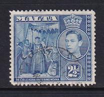 Malta: 1938/43   KGVI     SG222    2½d   Greyish Blue    Used - Malte (...-1964)