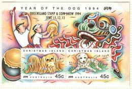 Australien / Christmas Island 1994  Mi.Nr. 392 / 393 ,Year Of The Dog - Aufdruck Queensland - Postfrisch / MNH / (**) - Christmas Island