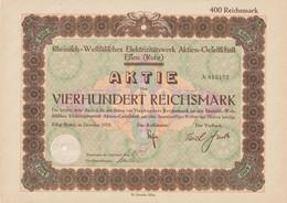 AKTIE Nr.813492 Rheinisch-Westfälisches Elektrizitätswerk Aktien-Gesellschaft Essen (Ruhr) über 400 RM Im Dezember 1929 - P - R