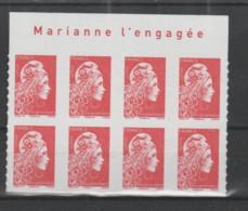 """FRANCE / 2018 / Y&T N° AA 1599 ** : Marianne D'YZ (adhésif De Feuille) TVP LP X 8 BdF Haut """"Marianne L'engagée"""" - Adhesive Stamps"""