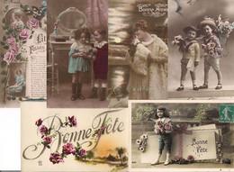 LOT 1000 CPA FANTAISIES DIVERSES : FEMMES ENFANTS HOMMES PAQUES 1er Avril FLEURS  BONNE ANNEE..... - 500 CP Min.