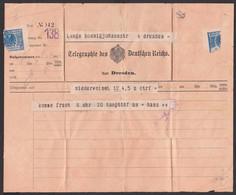Telegramm Telegraphie Zustellunsformblatt Deutsches Reich Niederwiesa Nach Dresden 9.6.1916 - Sin Clasificación