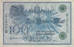 100 Mark 1908 VF/F (III) KN-NR 7024078 L (N/L) Siegel Grün - 100 Mark