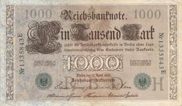 1000 Mark 1910 VG/G (IV) KN-NR 1335843 E Siegel Grün - 1000 Mark