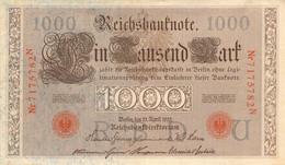 1000 Mark 1910 AU/EF (II) KN-NR 7175782 N Siegel Rot - 1000 Mark