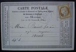 Parthenay 1875 (deux Sèvres)  Gc 2790 Carte Precurseur Pour Niort - 1849-1876: Periodo Clásico