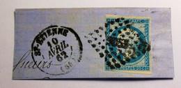 EMPIRE NON DENTELE, 1854, N° 14 Bleu Foncé (EXP: Oran)  Sur Fragment (TB-D-23-1) Oblit Oued El Hammam ALGERIE - 1853-1860 Napoléon III