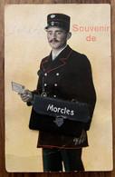 MORCLES: 1914 SOUVENIR DE MORCLES - CARTE EN RELIEF - FACTEURS AVEC MULTI-VUES DANS SA SACOCHE - VD Vaud
