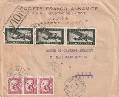 Lettre AVION NAM DINH NORD VIETNAM 8 7 49 Pour Lyon  3x Y&T PA 35 + 3x 163 - Covers & Documents