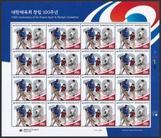 South Korea KPCC2794 Sport & Olympic Committee 100th Anniv. Baseball, Soft Tennis, Soccer, Jeux Olympiques, Full Sheet - Other