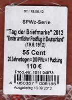 Teil Einer Verkaufsverpackung, Umhuellung Inhaltsangabe, 20 Zehnerbogen Tag Der Briefmarke, 2012 (1991) - Lettres & Documents