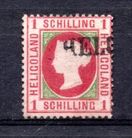 GRANDE BRETAGNE / HELIGOLAND YVERT N° 2  1 SHILLIING ROUGE ET VERT OBLITERE MICHEL N° 2 - Heligoland (1867-1890)
