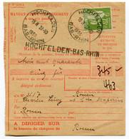 RC 19595 FRANCE 75c PAIX OBL HOCHFELDEN BAS RHIN  1936 SUR MANDAT CARTE - Unclassified