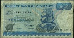 ♛ ZIMBABWE - 2 Dollars {Harare - 1983} VG+ P.1 B - Zimbabwe