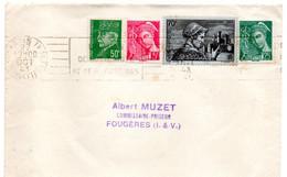 1943--lettre De Paris 9°   Pour FOUGERES-35- ... Composition De Timbres................. - 1921-1960: Modern Period