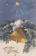 Christmas Tree Bells Sretan Bozic Christmas Postcard 1934 - Other
