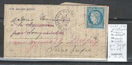 France - BALLON MONTE - 04/11/1870 - VILLE DE CHATEAUDUN - Gazette N4 - Pour Dieppe -Seine Inférieure - 1870 Siège De Paris
