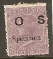 Australia  New South Wales  1880  SG O18as  Oerprint OS Specimen Mounted Mint - Ongebruikt